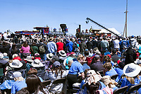 Author Jon Meachum speaks from the podium during the 150th anniversary celebration of the completion of the Transcontinental Railroad on May 10, 2019 at the Golden Spike National Historic Site in Promentory , Utah.