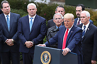 United States President Donald J. Trump makes remarks declaring a national emergency due to the COVID-19 coronavirus pandemic in the Rose Garden of the White House on March 13, 2020 in Washington, DC.<br /> Credit: Oliver Contreras / Pool via CNP/AdMedia