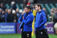 Bath Rugby Head Coach Mike Ford and his son Jacob look on during the pre-match warm-up. Aviva Premiership match, between Bath Rugby and Worcester Warriors on December 27, 2015 at the Recreation Ground in Bath, England. Photo by: Patrick Khachfe / Onside Images