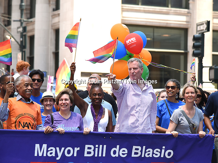 Al Sharpton, Chirlane McCray, Mayor Bill de Blasio and Cynthia Nixon attends the New York City Gay Pride March 2016 on June 26, 2016 on Fifth Avenue in New York City, New York, USA.<br /> <br /> photo by Robin Platzer/Twin Images<br />  <br /> phone number 212-935-0770