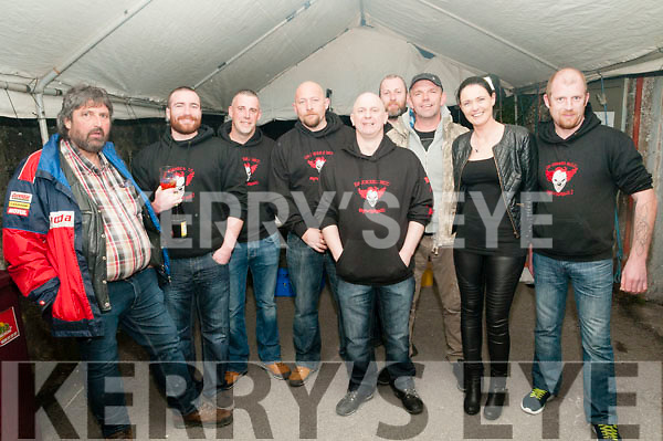 Fundraiser: Pictured at the fund raiser event at the Star & Garter bar, Listowel on Saturday night last for Paddy O'Sullivan,  fifth from right, Ballylongford who is taking part in the Wheelie world record  attempt to be held in England  in August with members of the Da Jokerz Motor Cycle Club.