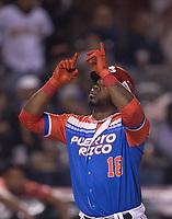 Rusney Castillo, de los Criollos de Caguas de Puerto Rico celebra runr&uacute;n en el cierre del tercer inning, contra &Aacute;guilas Cibae&ntilde;as de Republica Dominicana <br />   durante la Serie del Caribe en estadio Panamericano en Guadalajara, M&eacute;xico, jueves 8 feb 2018.  (Foto: Luis Gutierrez)