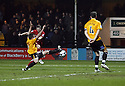 Sean Canham of Kidderminster (on loan from Hereford)  scores the first goal during the Blue Square Bet Premier match between Cambridge United and Kidderminster Harriers at the Abbey Stadium, Cambridge on 18th February, 2011 .© Kevin Coleman 2011.