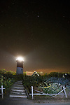 Nauset light house under a starry night, Cape Cod National Seashore.