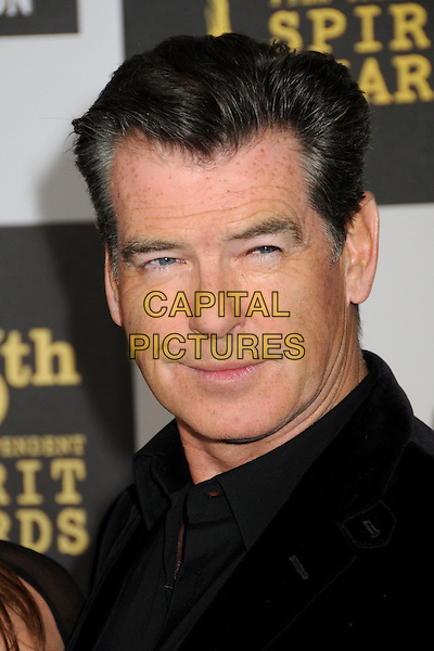 PIERCE BROSNAN.25th Annual Film Independent Spirit Awards - Arrivals held at the Nokia Event Deck at L.A. Live, Los Angeles, California, USA..March 5th, 2010.headshot portrait black .CAP/ADM/BP.©Byron Purvis/AdMedia/Capital Pictures.