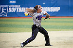 21 MAY 2016:  Reagan Tittle (22) of the University of North Alabama throws out a runner against Humboldt State University during the Division II Women's Softball Championship held at the Regency Athletic Complex on the Metro State University campus in Denver, CO.  North Alabama defeated Humboldt State 10-1 to force a game three.  Jamie Schwaberow/NCAA Photos