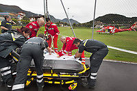 "Switzerland. Canton Ticino. Novaggio. A Rega Agusta AW109 SP Grand ""Da Vinci"" helicopter has landed on a football filed. The Croce Verde (Green Cross) Lugano delivers a patient to the Rega for a transfer flight to the nearest and most suitable hospital. The patient, lying on a stretcher, is an elderly man who suffers from a heart problem. The Rega crew wearing red uniforms is composed of paramedic Paolo Menghetti (L), doctor Michele Musiari (C) and pilot Corrado Sasselli (R). All Rega helicopters carry a crew of three: a pilot, an emergency physician, and a paramedic who is also trained to assist the pilot for radio communication, navigation, terrain/object avoidance, and winch operations. The name Rega was created by combining letters from the name ""Swiss Air Rescue Guard"" as it was written in German (Schweizerische Rettungsflugwacht), French (Garde Aérienne Suisse de Sauvetage), and Italian (Guardia Aerea Svizzera di Soccorso). Rega is a private, non-profit air rescue service that provides emergency medical assistance in Switzerland. Rega mainly assists with mountain rescues, though it will also operate in other terrains when needed, most notably during life-threatening emergencies. As a non-profit foundation, Rega does not receive financial assistance from any government. The AgustaWestland AW109 is a lightweight, twin-engine, helicopter built by the Italian manufacturer Leonardo S.p.A. (formerly AgustaWestland, Leonardo-Finmeccanica and Finmeccanica). Leonardo S.p.A is an Italian global high-tech company and one of the key players in aerospace. In close collaboration with the manufacturer, the Da Vinci has been specially designed to cater for Rega's particular requirements as regards carrying out operations in the mountains. It optimally fulfills the high demands made of it in terms of flying characteristics, emergency medical equipment and maintenance. Safety, performance and space have been increased, and maintenance and noise emissions reduced. 10.09.2017 ©"