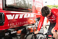 Picture by Allan McKenzie/SWpix.com - 15/04/18 - Cycling - HSBC UK British Cycling Spring Cup Road Series - Chorley Grand Prix 2018 - Chorley, England - Vitus Pro Cycling, branding, Grant Martin, Team Bus.