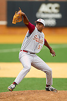 Florida State Seminoles relief pitcher Brandon Johnson #51 in action against the Wake Forest Demon Deacons at Wake Forest Baseball Park on March 25, 2012 in Winston-Salem, North Carolina.  The Demon Deacons defeated the Seminoles 7-5.  (Brian Westerholt/Four Seam Images)