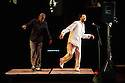"""London, UK. 03.04.2014. Savion Glover, with Marshall Davis Jr (left), in """"SoLe Sanctuary"""" at Sadler's Wells. Considered by many to be the world's greatest tap dancer, the Tony award-winner makes a return to London, presenting the UK premiere of this show. Photograph © Jane Hobson."""