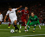 Wissam Ben Yedder of Sevilla draws out Loris Karius of Liverpool off his line lduring the Champions League Group E match at the Anfield Stadium, Liverpool. Picture date 13th September 2017. Picture credit should read: Simon Bellis/Sportimage