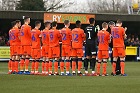 The Millwall team show their respects to Gordon Banks ahead of AFC Wimbledon vs Millwall, Emirates FA Cup Football at the Cherry Red Records Stadium on 16th February 2019