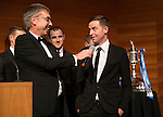 St Johnstone FC Scottish Cup Celebration Dinner at Perth Concert Hall...01.02.15<br /> Gordon Bannerman talks with Steven MacLean<br /> Picture by Graeme Hart.<br /> Copyright Perthshire Picture Agency<br /> Tel: 01738 623350  Mobile: 07990 594431