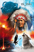 Interlitho, Jason, FANTASY, paintings, indian chief, wolf, KL, KL3991,#fantasy# illustrations, pinturas