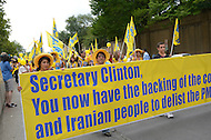 August 26, 2011 (Washington, DC)   Thousands of Iranian-Americans as they demonstrated in front of the U.S. State Department demanding the removal of the People's Mojahedin Organization of Iran (PMO/MEK) from the list of organizations the State Department calls terrorists.  The protesters also urged Secretary Clinton to follow through with protecting 3,400 members of the MEK as promised by the U.S. in 2004.  (Photo by Don Baxter/Media Images International)