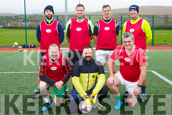 At the Over 35s Inter-Firm Soccer Tournament at John Mitchels sports complex were The Unbelievables  T Front l-r Mike Wall, Rich Vidal, Eoin Kelliher, back l-r Simon Moore, Eoin O'Donnell, Dermot Cunnane, Mike Sheehy