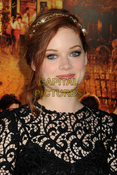 "Jane Levy.""Fun Size"" Los Angeles Premiere held at Paramount Studios, Los Angeles, California, USA..October 25th, 2012.headshot portrait black lace gold pearl hairband .CAP/ADM/BP.©Byron Purvis/AdMedia/Capital Pictures."