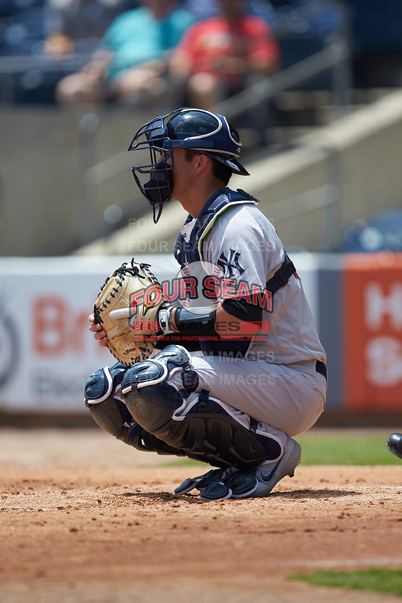 Scranton/Wilkes-Barre RailRiders catcher Kyle Higashioka (66) on defense against the Gwinnett Stripers at Coolray Field on August 18, 2019 in Lawrenceville, Georgia. The RailRiders defeated the Stripers 9-3. (Brian Westerholt/Four Seam Images)