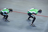 SCHAATSEN: HEERENVEEN: IJsstadion Thialf, 03-06-2013, training merkenteams op zomerijs, Ireen Wüst, Sven Kramer, ©foto Martin de Jong