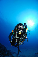 Tek diver at the 85 foot pinnacle on a rebreather Maui hawaii