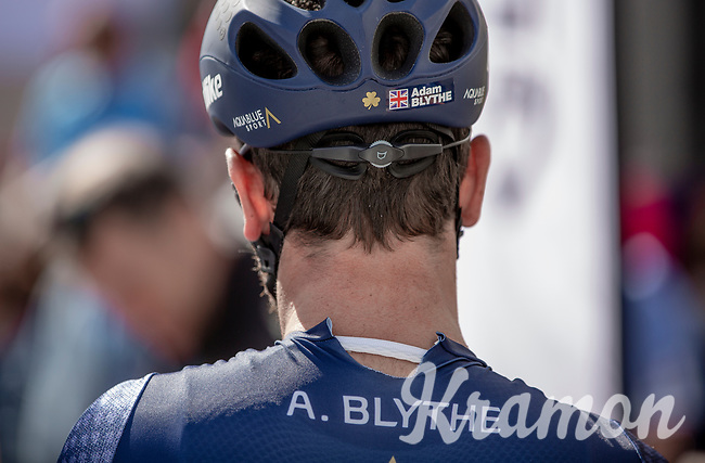 Adam Blythe (GBR/Aqua Blue Sport), with a ripped-open shirt pre race.<br /> <br /> 1st Great War Remembrance Race 2018 (UCI Europe Tour Cat. 1.1) <br /> Nieuwpoort > Ieper (BE) 192.7 km