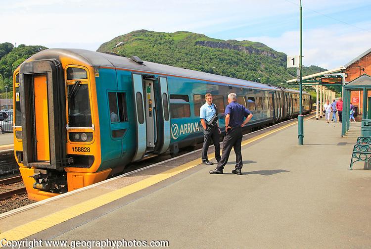 Arrive train at platform Porthmadog, Gwynedd, north west Wales, UK
