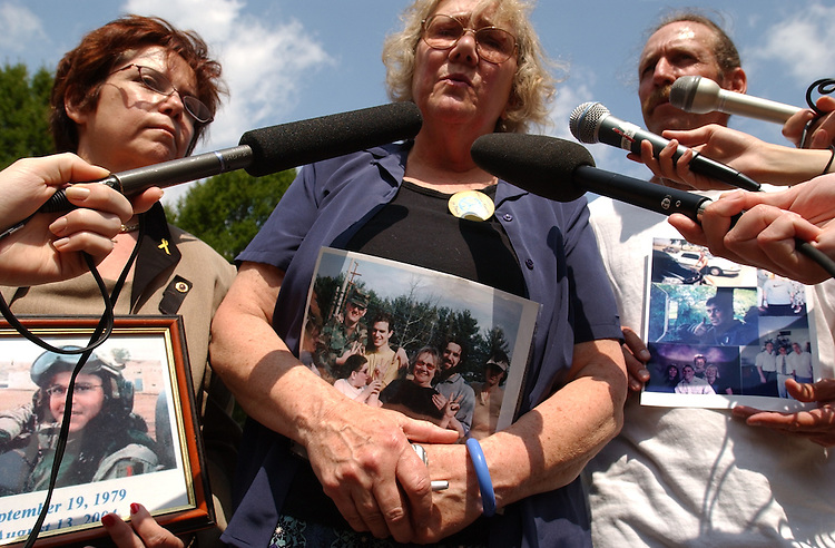 "Members of Gold Star Families for Peace visited Washington to call on members to support a ""Resolution of Inquiry"" into the so-called Downing Street Memo.  They believe the Memo  proves that the war in Iraq was based on prefabricated intelligence.  From left are Dianne Davis Santorello who lost her son Lt. Neil Anthony Santorello, Celeste Zappala who lost her son Sgt. Sherwood Baker, and Bill Mitchell who lost his son Army Sgt. Michael Mitchell"
