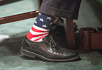 Close-up of the sox worn by Office of Management and Budget Director Mick Mulvaney, who is also the Acting Director, Consumer Financial Protection Bureau, as he testifies before the United States Senate Committee on Banking, Housing, and Urban Affairs on the CFPB's Semi-Annual Report to Congress, on Capitol Hill in Washington, DC on Thursday, April 12, 2018. Photo Credit: Ron Sachs/CNP/AdMedia