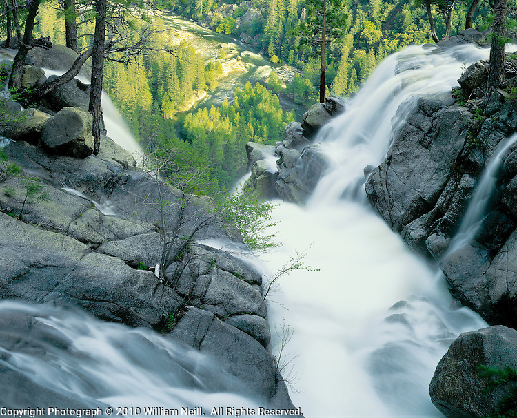 The confluence of Tamarack and Cascade Creeks with Merced River below, Yosemite National Park, California  1986