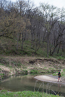 Fly fishing Waterloo Creek in the Driftless Region of Iowa.