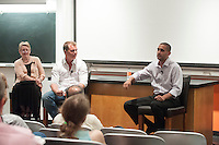 Occidental College kicked off a yearlong celebration of its 125th anniversary on Friday, April 20, 2012. The Founders Day celebration featured a panel discussion in Mosher 1 by distinguished alumni on online entrepreneurship.<br />
