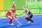 Sam Quek #13 of Great Britain and Katie Bam #16 of United States during Great Britain vs USA in a women's Pool B game at the Rio 2016 Olympics at the Olympic Hockey Centre in Rio de Janeiro, Brazil.