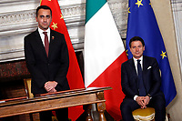 Luigi Di Mio e Giuseppe Conte<br /> Rome March 23rd 2019. The President of the Chinese Democratic Republic visits the Italian Premier to sign economic agreements at Villa Madama.<br /> photo di Samantha Zucchi/Insidefoto