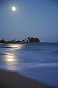 Moon rise over the ocean on the island of Kauai, Hawaii.
