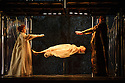 """EMBARGOED UNTIL FRIDAY 4th MARCH 2016, 7:30pm:  London, UK. 02.03.2016. English National Opera presents """"Akhnaten"""", composed by Philip Glass, and directed by Phelim McDermott. Picture shows: Rebecca Bottone (Queen Tye), Anthony Roth Costanza (Akhnaten), Zachary James (Scribe). Photograph © Jane Hobson."""
