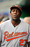 19 June 2011: Baltimore Orioles' designated hitter Vladimir Guerrero walks the dugout during a game against the Washington Nationals on Father's Day at Nationals Park in Washington, District of Columbia. The Orioles defeated the Nationals 7-4 in inter-league play, ending Washington's 8-game winning streak. Mandatory Credit: Ed Wolfstein Photo