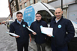 Blockbusters L-R Mark Jones, Luke Bentley & Phil Ensor .launch the Welsh Water Let's Stop The Block campaign in Pontypridd..15.04.13..©Steve Pope