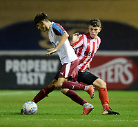 Lincoln City U18's Gianluca Bucci vies for possession with South Shieldsy U18's Bailey Judson<br /> <br /> Photographer Chris Vaughan/CameraSport<br /> <br /> The FA Youth Cup Second Round - Lincoln City U18 v South Shields U18 - Tuesday 13th November 2018 - Sincil Bank - Lincoln<br />  <br /> World Copyright © 2018 CameraSport. All rights reserved. 43 Linden Ave. Countesthorpe. Leicester. England. LE8 5PG - Tel: +44 (0) 116 277 4147 - admin@camerasport.com - www.camerasport.com