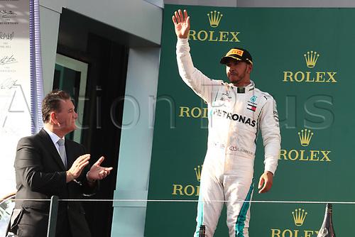 25th March 2018, Melbourne Grand Prix Circuit, Melbourne, Australia; Melbourne Formula One Grand Prix, race day; Mercedes AMG Petronas Motorsport AMG F1 Team; Lewis Hamilton