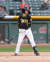 Matt Williams (7) of the Salt Lake Bees at bat against the Sacramento River Cats in Pacific Coast League action at Smith's Ballpark on April 13, 2017 in Salt Lake City, Utah. Salt Lake defeated Sacramento 4-3. (Stephen Smith/Four Seam Images)