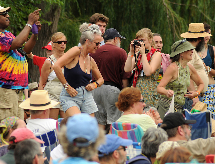 Members of the crowd dancing during David Bromberg's performance on Rainbow Stage during the Clearwater's Great Hudson River Revival Music & Environmental Festival 2011 at Croton Point Park, Croton-on-Hudson, NY on Saturday June 18, 2011. Photo copyright Jim Peppler/2011.