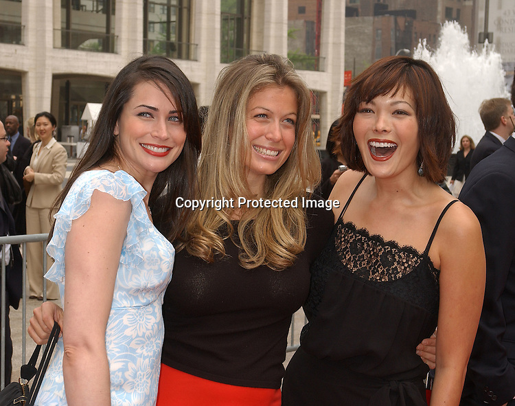 Rena Sofer , Sonya Walger & LIndsay Price who are all on ..Couplling                               ..at the NBC Upfront announcement of their new shows ..on May 12,2003 at the Metropolitan Opera House ...Photo by Robin Platzer, Twin Images