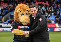 Former Bolton Wanderers player Kevin Nolan pictured before the match with Lofty the Lion<br /> <br /> Photographer Andrew Kearns/CameraSport<br /> <br /> The EFL Sky Bet Championship - Bolton Wanderers v Norwich City - Saturday 16th February 2019 - University of Bolton Stadium - Bolton<br /> <br /> World Copyright © 2019 CameraSport. All rights reserved. 43 Linden Ave. Countesthorpe. Leicester. England. LE8 5PG - Tel: +44 (0) 116 277 4147 - admin@camerasport.com - www.camerasport.com