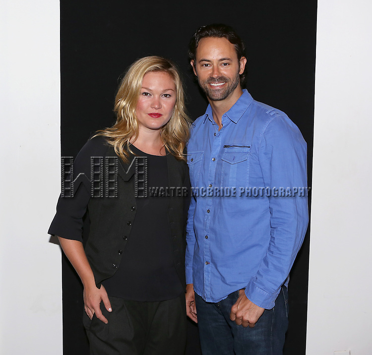 "Julia Stiles and James Wirt attend the ""Phoenix"" Cast Photo Call at their rehearsal studio on July 9, 2014 in New York City."