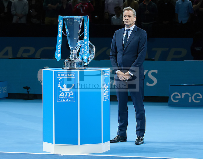 ATP Executive and President Chris Kermode stands next to the ATP World Tour Final Trophy, ATP World Tour Finals 2016, Day Eight, O2 Arena, Peninsula Square, London, United Kingdom, 20th Nov 2016