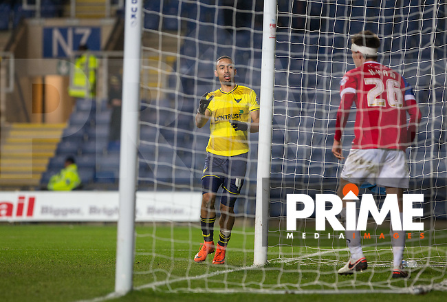 Kemar Roofe of Oxford United scores his hat trick during the Sky Bet League 2 match between Oxford United and Dagenham and Redbridge at the Kassam Stadium, Oxford, England on 15 March 2016. Photo by Andy Rowland.