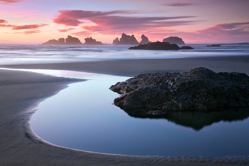 Low tide pool and sunset at Bandon, Oregon