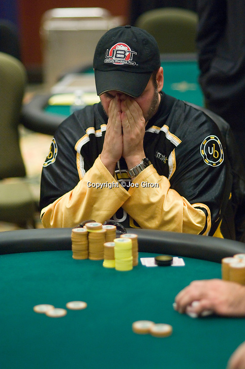 """James """"Krazy Kanuck""""Worth thinks about making  a call vs. Adam Dunkle.  He does and eliminates Dunkle in 7th. place, on the TV bubble."""