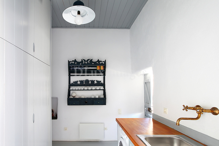 traditional kitchen with white washed walls