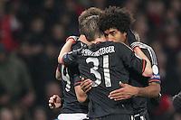 19.02.2013, Emirates Stadion, London, ENG, UEFA Champions League, FC Arsenal vs FC Bayern Muenchen, Achtelfinale Hinspiel, im Bild Mario MANDZUKIC (FC Bayern Muenchen - 9), Bastian SCHWEINSTEIGER (FC Bayern Muenchen - 31), DANTE (FC Bayern Muenchen - 4) jubelt, freut sich, Jubel, Freude ueber das 3-1 // during the UEFA Champions League last sixteen first leg match between Arsenal FC and FC Bayern Munich at the Emirates Stadium, London, Great Britain on 2013/02/19. EXPA Pictures © 2013, PhotoCredit: EXPA/ Eibner/ Ben Majerus..***** ATTENTION - OUT OF GER *****